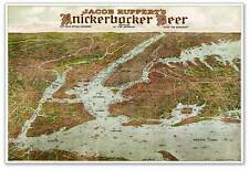 Knickerbocker Beer Ad Wall MAP Greater New York City Manhattan Bronx circa 1912