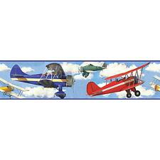 VINTAGE PLANES WALLPAPER BORDER self stick biplanes airplanes clouds wall decor