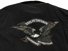 Harley Davidson Men Shirt Large Button Up Eagle Embroidery