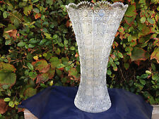 "VINTAGE BOHEMIA QUEEN LACE CUT 24% CRYSTAL VASE 12"" MINT NIB"