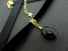 A LADIES GIRLS 10MM BLACK VELVET & GOLD  OVAL ONYX BEAD CHOKER NECKLACE . NEW.