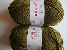Phildar Iliade wool blend yarn, Olive green (Kaki), lot of 2, (92 yds each)