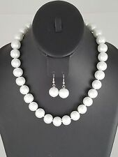 Silver and White Faux Pearl FASHION Necklace Set