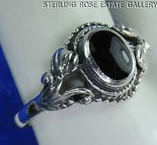 VINTAGE ONYX Hand Crafted Sterling Silver 0.925 Estate RING size 7