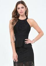 BEBE BLACK LACE STRAPPY DETAIL PEPLUM NEW NWT TOP SHIRT $69 SMALL S
