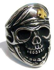 SKULL HEAD IRON CROSS BERET HAT STAINLESS STEEL RING size 11 - S-537 biker  MENS