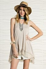 Oatmeal Beige EASEL Lace Extender Long Tunic Tank Top Boho Natural Knit Trim S