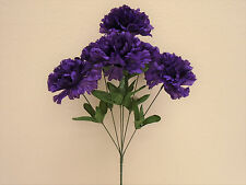 "4 Bushes PURPLE Carnation 6 Artificial Silk Flowers 16"" Bouquet FB341PU"