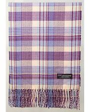 100% Cashmere Scarf Pink Purple Blue Check Tartan Plaid SCOTLAND Wool Women R933