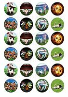 24 FOOTBALL  CUPCAKE TOPPERS ICED ICING FAIRY CAKE BUN TOPPERS