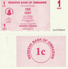 Zimbabwe P33, 1 Cent, Bearer Cheque, UNC, 2006, see UV & watermark images