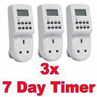 7 Day Digital LCD Electronic Plug-in Program 12/24 Hour Timer Switch Socket 3PC