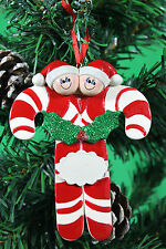 PERSONALISED CHRISTMAS TREE DECORATION ORNAMENT  CANDY CANE   FAMILY OF 2