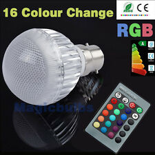 Dimmable B22 5W LED Light Bulbs RGB Lamp 16 Colour Changing+ Free Remote Control