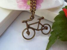 retro bronze bike necklace,double sides unique bike necklace Hb73