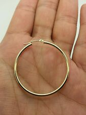 14k Yellow Gold High Polish Tube Hoop Earrings 2mm x 40mm