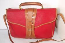 DOONEY & BOURKE Red & British Tan Pebble LEATHER Briefcase AWL Messenger NICE!