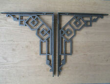 PAIR OF ANTIQUE ART DECO CAST IRON SHELF BRACKETS SHELVING SINK CISTERN BRACKET