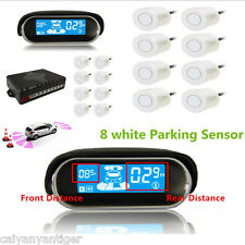 8 white Parking Sensors Car Reverse Backup LCD Display Front Rear Alarm Buzzer