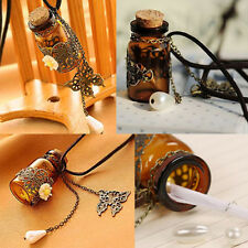 Vintage Butterfly Flower Pendant Wishing Glass Bottle Leather Necklace Gift Pop