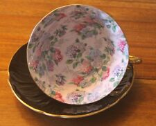 Shelley Black Oleander Summer Glory Lilac pink Chintz Teacup Tea Cup Saucer