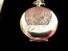 Waltham Antique 14K Solid Yellow Gold & Diamond Women's Pocket Watch-0.11 Carats