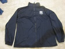 USA Olympic Committee Warm Up Jacket Black Embroidered Fleece Pockets 2XL