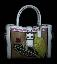 COACH Ltd Ed LEAFY LADY BUG CRYSTAL STRAW LEATHER APPLIQUE BOXY TOTE BAG PURSE