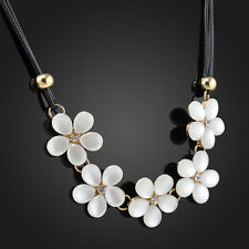 Fashion Crystal Flower Bib Statement Choker Chunky Necklace Black Leather Chain