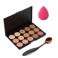 15-Color Camouflage Concealer Palette Foundation Make Up Tooth Brush Sponge Puff
