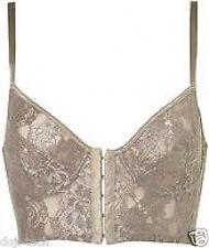 BNWT Topshop Silver Vtg Floral Lace Bralet Corset Crop Bustier Bra Top 6 8 32A