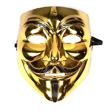 Mens Womens Unisex Anonymous Vendetta Halloween Fancy Dress Mask - Gold