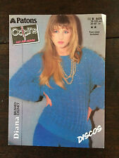 """Patons Odpins Knitting Pattern: Ladies Sweater, Chunky, 30-40"""", 8475"""