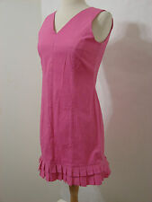 KRIZIA Pink Sleeveless V Cut Box Pleat Ruffled Hem Dress NWT M