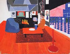 "DAVID HOCKNEY BOOK PRINT ""STUDIO HOLLYWOOD HILLS HOUSE"" FIREPLACE TABLE CHAIRS"