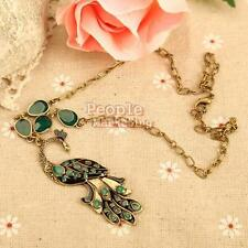 Vintage Style Green Enamel Peacock Chain Necklace Charm Animal Pendant Bronze