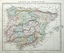 España & Portugal Arrowsmith Original Antiguo mapa 1828