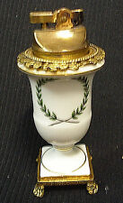 VINTAGE BRASS PORCELAIN TABLE CIGARETTE LIGHTER ART NOUVEAU LAUREL WREATH DESIGN