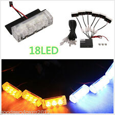 12V 18LED Yellow & White Car Front Grille Emergency Strobe Lights Flash Lamp Bar