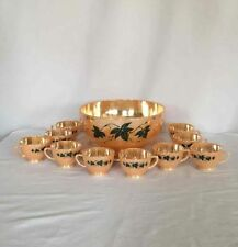 Vintage Anchor Hocking Fire King Peach Luster Punch Bowl Set Ivy Leaf 12 Pieces