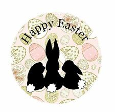 Personalised Stickers Happy Easter Bunny Vintage Shabby Label  de16