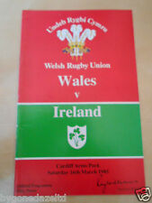 WALES v IRELAND  Rugby Union. 16th March 1985  Programme