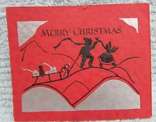 Vntage 1930's Red Silver Black Silhouette Christmas Card Boy Girl Sled FREE S/H