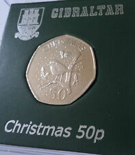 2009 Gibraltar Christmas (Robin Redbreast) 50p Coin BU Gift in Card Display Case