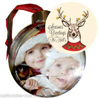 PERSONALISED PHOTO CHRISTMAS BAUBLE | DOUBLE SIDED ADD NAME |  TREE DECORATION 3