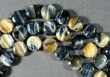 "BLUE & HONEY GOLD - HAWKS EYE & TIGER'S EYE - COIN BEADS 14MM 15.5"" TIGEREYE"