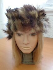 EXCELLENT CANADIAN NATURAL RACCOON TAIL FUR HAT CAP WOMEN WOMAN SIZE ALL