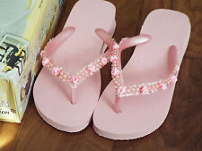 Havaianas Fashion Flip-Flops Sandals Pink Beaded Rose NEW US 7/8 (EUR 41/42)