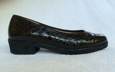 "ARA ""MIELY"" BROWN PATENT LEATHER CROCO SLIP ON LOAFER PUMP FLAT UK 4.5 US 6.5"