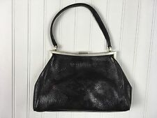 Vintage Cole Haan Tooled Black Leather Purse Frame Handbag Hand Bag Distressed